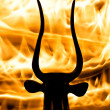 Photo of the bull figurine with real flame background — Stock Photo #11439873