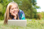 Young student girl with laptop — Foto Stock