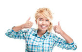 Beautiful and happy young woman giving thumbs up. — Stock Photo