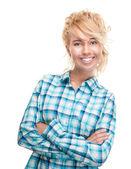 Mutlu ve güzel genç kadın. — Stok fotoğraf