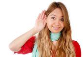 Genç kız dinleme — Stok fotoğraf