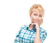 Piękny i szczęśliwy młoda kobieta. — Zdjęcie stockowe