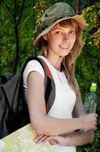 Young woman with map — Stock Photo