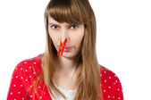 Girl with clothespin on her nose — Stock Photo