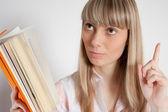 Beautiful young girl with book — Foto de Stock