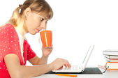 Student with notebok — Stock Photo