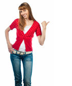 Beautiful woman pointing to the side — Stock Photo