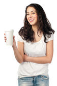 Young woman with cup of coffee — Stock Photo