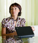 A woman with a notebook — Stock Photo