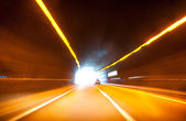 Car tunnel motion blur — Stock Photo