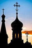 Rus kilise silüeti — Stok fotoğraf