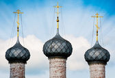 Three domes of russian church. — Stock Photo