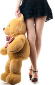 Sexy girl with toy bear — Stockfoto