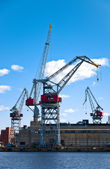 Sea port cranes — Stockfoto