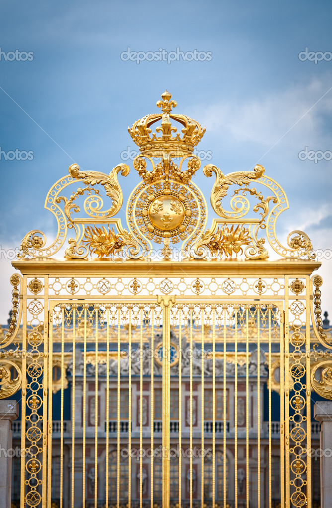 Golden Gates of Versailles Golden Ornate Gate of Chateau