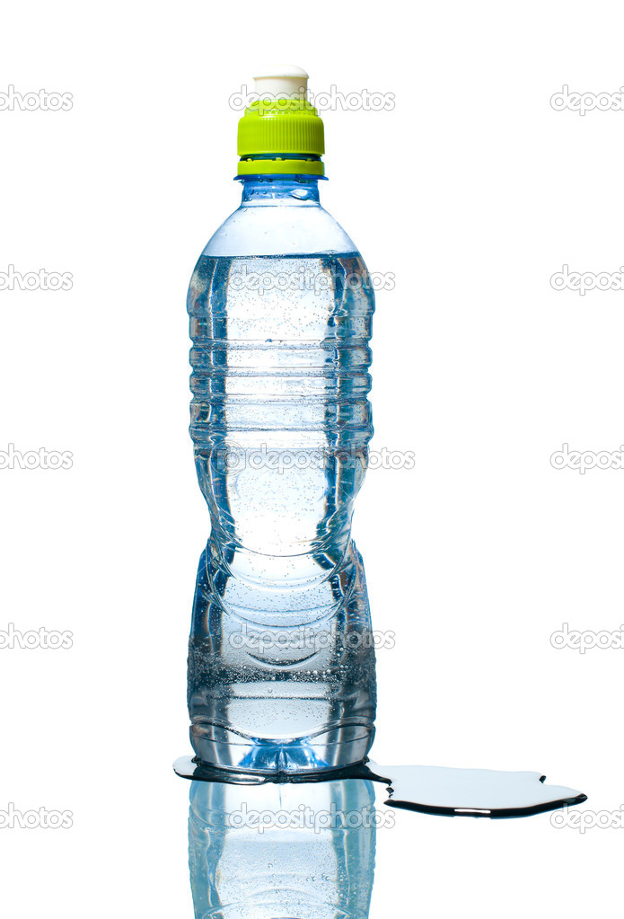 Blue bottle of water with small bubbles inside, reflection below and puddle besides. Isolated on white background. — Stock Photo #11439073