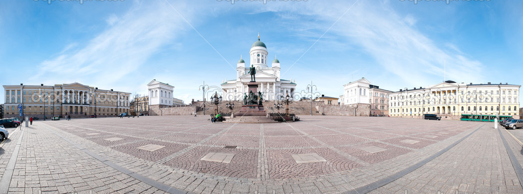 Panorama view of the Helsinki cathedral square with blue cloudy sky in background — Stock Photo #11439877
