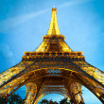 Eiffel tower at night. Paris, France. — Stock Photo