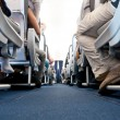 View from floor of plane cabin on aisle - Stock Photo
