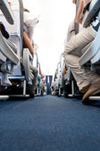View from floor of plane cabin on aisle — Stock Photo