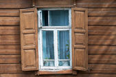 Window of old wooden house. — Stock Photo