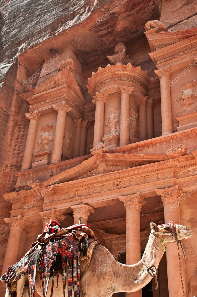 View of the petra treasury with camel in foreground — Stock Photo #11440306