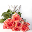 Pink roses bunched together — Stock Photo