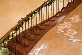 Stair with christmas decoration — Stock Photo
