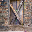 Wood Door Embedded in Stone — Stock Photo