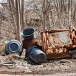 Stock Photo: Garbage Cans and Rusted Parts