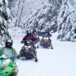 Snowmobilers on a trail - Stock Photo