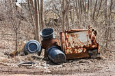 Garbage Cans and Rusted Parts — Stock Photo
