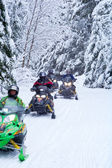 Snowmobilers on a trail — Stock Photo