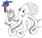 Coloring image octopus — Stock Vector