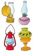 Kerosene lamps collection — Stock Vector