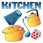 Kitchen dishes collection — Stock Vector