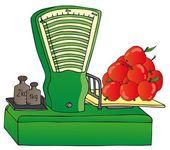 Měřítko s jablky — Stock vektor