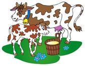 Cow with calf — Stock vektor
