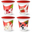 Background for design of packing yoghurt with photo-realistic vector of berries. — Imagens vectoriais em stock