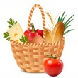 Stock Vector: Basket full of basic food.