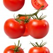 Collection of red ripe tomatoes with water drops. — Stock Vector #11520989