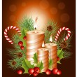 Christmas candles with holly and candy canes — Stock Vector