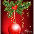 Christmas decoration: holly with berries and christmas ball on red background. — Stock Vector