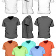 Men's V-neck t-shirt design template (front, back and side view) — Stock Vector