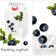 Background for design of packing yoghurt with photo-realistic vector of blueberry. - Stok Vektr