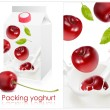 Royalty-Free Stock Vector Image: Background for design of packing yoghurt with photo-realistic vector of cherry.