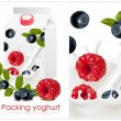 Stock Vector: Background for design of packing yoghurt with photo-realistic vector of forest berries.