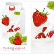 Background for design of packing yogurt with photo-realistic vector of strawberry. — Stock Vector