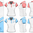 Women's polo-shirt design template (front, back and side view). - Stock Vector