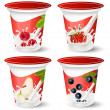 Background for design of packing yoghurt with photo-realistic vector of berries. - Stock vektor